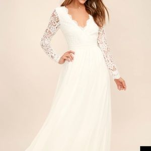 Lulus white lace sleeve gown